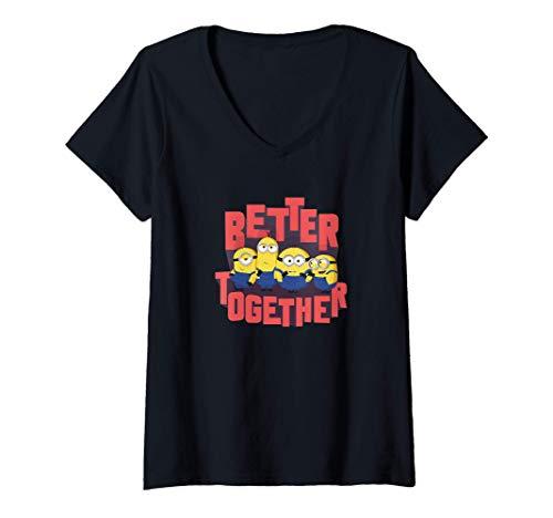 Damen Minions Better Together Text Portrait T-Shirt mit V-Ausschnitt