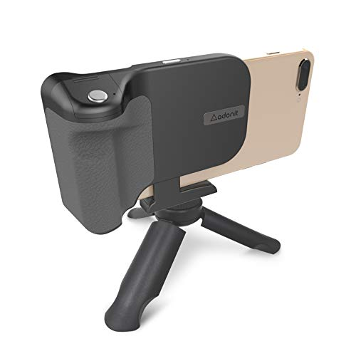 Adonit PhotoGrip Qi (Black) Bluetooth Camera Shutter Remote + 3000 mAh Wireless Charger +Tripod + Smartphone Grip, for iPhone, Samsung, Sony, All Qi-Enabled Phones