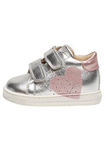 Falcotto Heart VL-Sneaker in Vitello con Cuore Glitter-Argento Argento 18