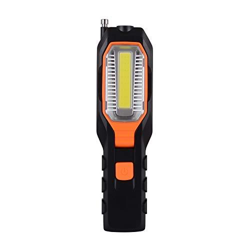WOLFTEETH - Lámpara LED de inspección con gancho giratorio e imán COB linterna de mano, 4 modos de iluminación para garaje, loft, camping, emergencia, uso