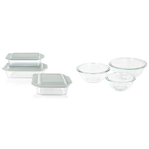 Pyrex Deep Baking Dish Set (6-Piece, BPA-Free Lids) & Glass Mixing Bowl Set (3-Piece Set, Nesting, Microwave and Dishwasher Safe)
