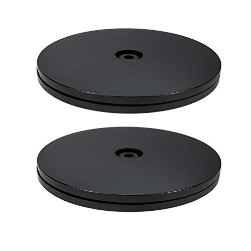 Geesatis 2 Pcs 6 inch Lazy Susan Acrylic Rotating Turntable Organizer Bearings Round Swivel Plate, Smooth Swivel Plate for Kitchen Base Turn Dining Table, Black