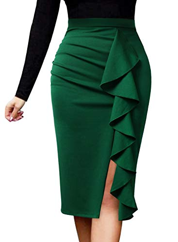 VFSHOW Women Elegant Ruched Ruffle Slit Work Business Party Pencil Skirt 2511 GRN L