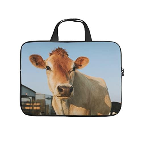 Facbalaign Funda para ordenador portátil con diseño de vaca, duradera, de alta calidad, con asa., blanco, 17 pulgadas,