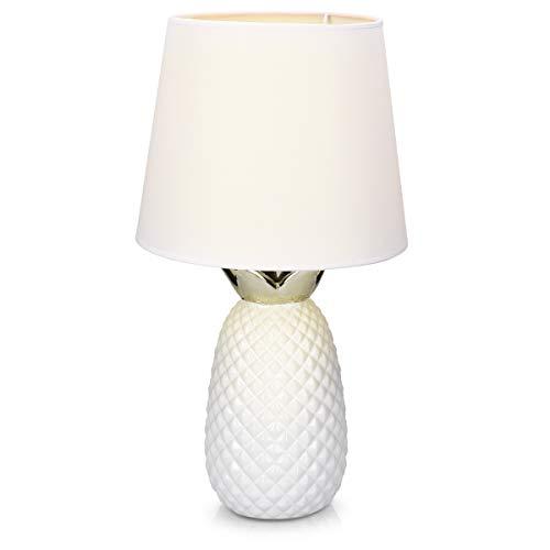 Navaris Tischlampe im Ananas Design - 46cm hoch - Deko Keramik Lampe für Nachttisch oder Beistelltisch - Dekolampe mit E27 Gewinde in Weiß-Weiß