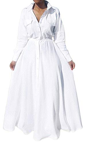 Bodycon4U Women's Pleated Long Sleeve Party Cocktail Long Maxi Button Down White Shirt Dress Plus Size with Pockets 2XL (Apparel)