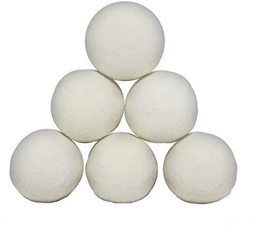 ProLeo Trocknerbälle Trocknerkugeln aus Schafwolle, Wolle Kugeln Wiederverwendbare natürliche Weichspüler 6PCs für Wäsche, Trockner Blätter
