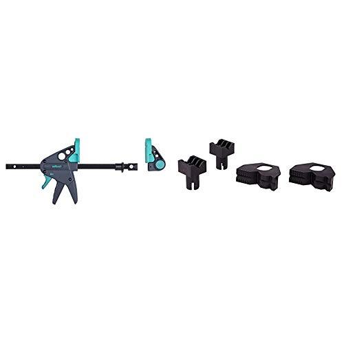 Wolfcraft 3036000 Werktischspanner / Flächenspanner & 6174000 4 Kunststoffbacken zum Rundspannen