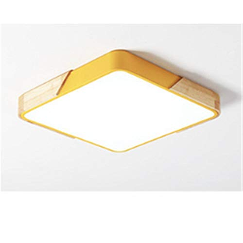 Deckenleuchte-Massivholz Bordüre quadratisch weißes Licht Balkon Gang Küche-Gelb 50CM-40W,[Energieklasse A+].