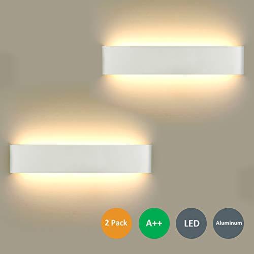 2 Pezzi LED Lampada da Parete 16W Bianco Caldo, Moderno Up Down Applique da Parete con 110V-260V, Interni Lampada a Muro per Bagno Lampada Soggiorno Camera da Letto Scale Corridoio Luce Notturna