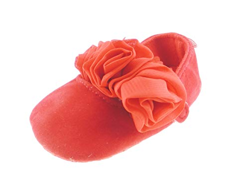 Glamour Girlz - Sandalias de verano para bebé (gasa), diseño de rosas, color rojo, color Rojo, talla 6-9 meses