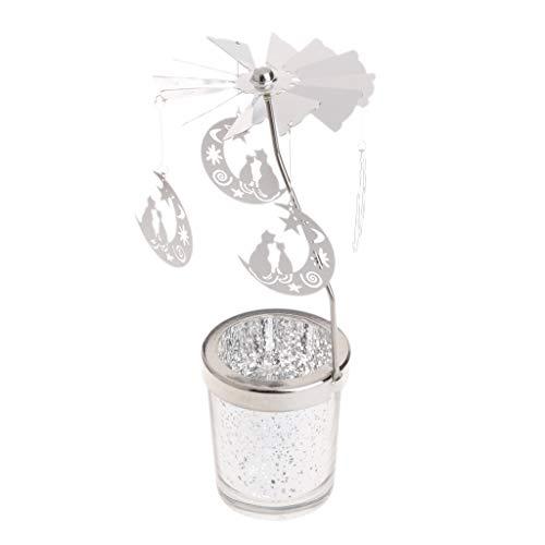 Siwetg - Portacandela rotante in metallo per candela, decorazione per la casa