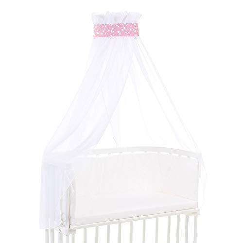 Ciel de lit babybay piqué avec ruban adapté aux modèles Original, Maxi, Boxspring, Comfort, Comfort Plus et Midi, framboise avec étoiles blanches