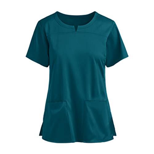 Padaleks Kasack Damen Pflege Einfarbig Bluse T-Shirt Schlupfkasack mit Taschen Kurzarm Rundhals Schlupfhemd Berufskleidung Krankenpfleger Zwei Taschen Uniformen