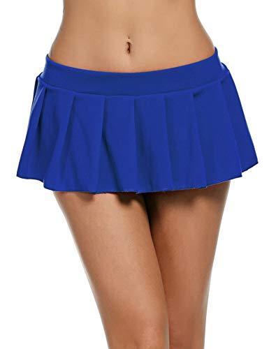 Wearella Damen Sexy plissiert Micro Mini Rock Dessous Rollenspiel Kostüm Outfits Gr. XXX-Large, blau