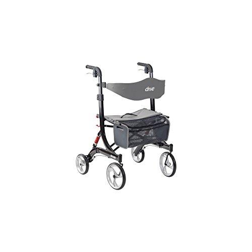 Vierwielige, duurzame rollator van Drive DeVilbiss Healthcare Nitro, met ophanging, zwart.