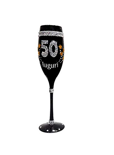Macedonia Bicchiere 50 Anni Flute Nero in Vetro Glitter Gadget Idea Regalo Festa 50° Compleanno