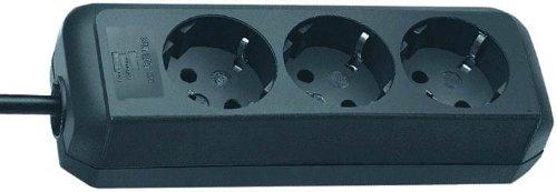 Brennenstuhl Eco-Line 3-fach Steckdosenleiste (Steckerleiste mit Kindersicherung und 1,5 m Kabel) schwarz