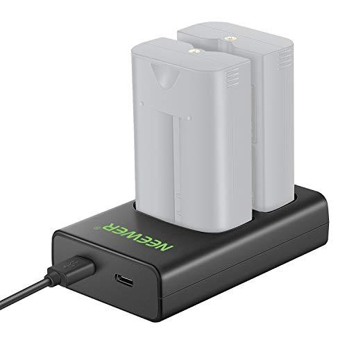 Neewer Caricabatterie a Doppia Porta per Batterie Ring Compatibile con Batterie di Ring Video Doorbell 2/3/3 Plus, Spotlight Cam, Peephole Cam, Stick Up Cam & Door View Cam (SENZA Batterie)