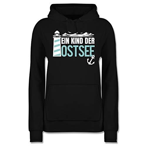 Statement - EIN Kind der Ostsee blau/weiß - XS - Schwarz - Leuchtturm - JH001F - Damen Hoodie und Kapuzenpullover für Frauen
