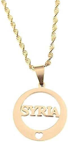 GLLFC Halskette Edelstahl Alphabet Syrien Anhänger Halsketten Syrer Runde Kette Schmuck Geschenke Geschenk für Frauen Männer