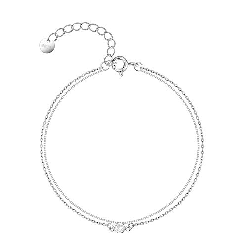 Ankle Bracelet 925 Sterling Silver Double Layered Anklets Summer Beach foot Anklets for Women, 11 Inches