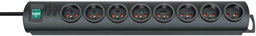 Brennenstuhl Prolongateur Multiprise Primera-Line avec 8 Prises (Fixation murale possible, avec un range-câble et un interrupteur, 2m de câble H05VV-F 3G1,5), Noir
