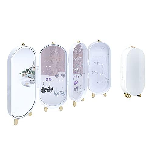Jiuyotree Schmuckkästchen mit Spiegel für Damen, modischer Schmuck-Organizer für Halsketten, Ohrringe, Armbänder, Stand, geräumig, Weiß