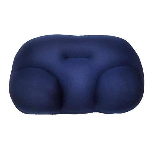 Almohada de cuello en 3D para dormir profundo, almohada para el cuello, reposacabezas, cojín de aire, alivio de presión, funda lavable, color azul