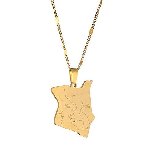 Mapa de acero inoxidable de Kenia Collares pendientes Mapa de color dorado Regalo de joyería de Kenia