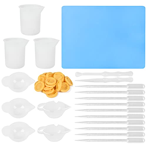 BUYGOO 41 vasos medidores de silicona para resina, 100 ml/250 ml, vaso mezclador de silicona, dispensador de varillas, pipeta, desechable, de látex para pintura, arte