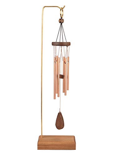 MUMTOP Wind Chime Outdoor Musically Tuned Chimes Aluminum Wind Chimes Sympathy with Wood Desk Stand Healing Memorial Gifts for Indoor Outside, Table Decor 16.5 Inch (Brown Chime)