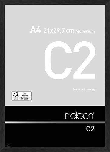 Nielsen 61801 Cadre Photo C2 Aluminium brossé 21x29.7 cm Noir Mat, 21x29,7 cm