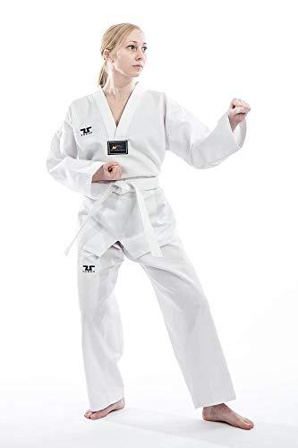 Traje de taekwondo marca Tusah para principiantes, TKD Dobok, traje de artes marciales aprobado por la Federación Mundial de Taekwondo, color Blanco, tamaño 100