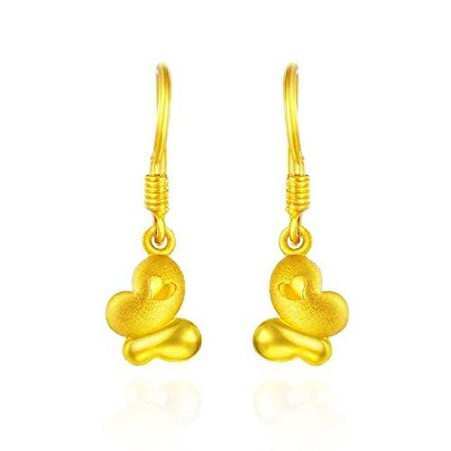 Beydodo Pendientes Mujer Pendientes Oro Amarillo Pendientes de Mujer Pendientes Mariposa Corazón Pendientes Oro-2.85g