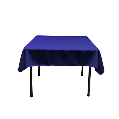 LA Linen Nappe carrée en Popeline Polyester, Polyester, Bleu Marine, 132 x 132 x 0.04 cm