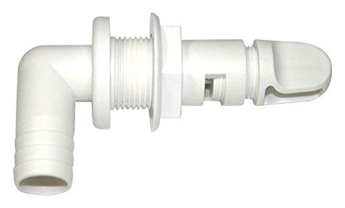 T-H Marine AHV-92-DP Aerator Spray Head, 90 Degree Fixed Flange - White, 3/4' Barbed w/Shut-Off Valve