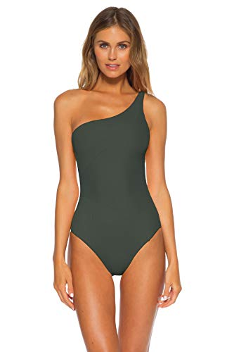 Becca by Rebecca Virtue Women's Adeline One Shoulder One Piece Swimsuit Basil L