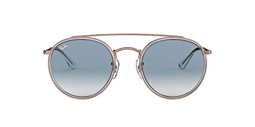 Ray-Ban 0RB3647N, Gafas de Sol Unisex Adulto, Transparente (Bronze Copper/Light Blue Gradient), 51
