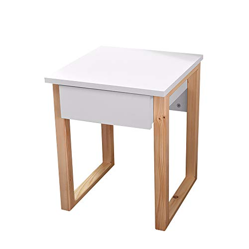 Selsey Scandinavia - Table de Chevet (Blanc/Bois de pin, 39 cm, tiroir)