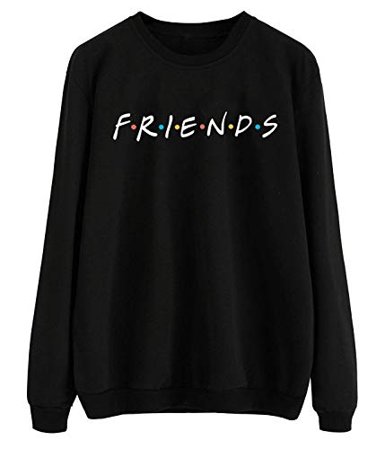 ZSIIBO Women's Casual Friends Letter Printed Sweatshirt Funny Graphic Pullover Top WY01 (L) Black