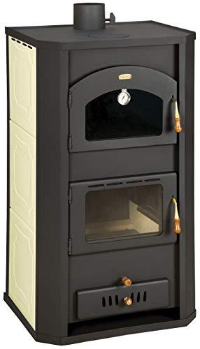 Estufa de cocina de leña con horno para sistema de calefacción central. Potencia de calefacción de 20+6 kw.