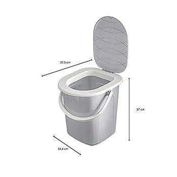 BranQ - Home essential Unisex-Adult BranQ Mobile Toilettes de camping 22 l avec 40 sacs de toilette bio, plastique, capacité de charge max. 120 kg, gris clair, 22 l