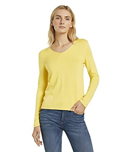 TOM TAILOR Damen Basic Langarmshirt Sweatshirt, 26055-Smooth Yellow Melange, S