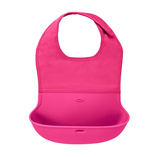 OXO Tot Waterproof Silicone Roll Up Bib with Comfort-Fit Fabric Neck