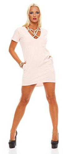 AE Damen Sexy Minikleid Kleid Dress Abendkleid Clubwear Cocktailkleid Gr. S M 36 38, 1544 Puderrosa...