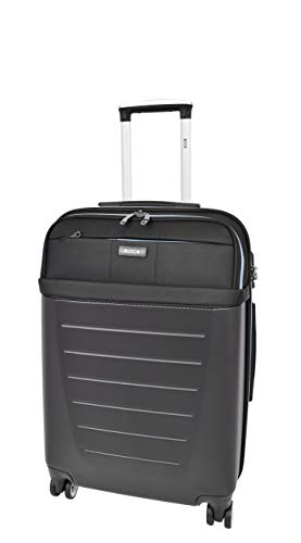 Medium Size Check-in Luggage 4 Wheel Hard Shell Lightweight Travel Trolley Suitcase Bag A166 Black
