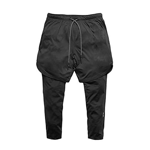 Pantalones Casuales para Hombres, Color sólido Simple, Pantalones Deportivos Ligeros y cómodos de 7 Puntos, Pantalones Delgados Transpirables para Correr y Entrenar XXL