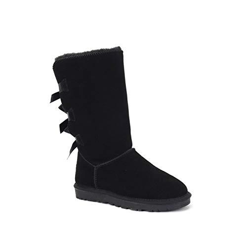 Australia Boots Women Sheepskin Snow Shoes Brand Winter Boots Genuine Leather Australian Shoes Mujer Botas Ankle Femmes Bottes,2 Bow Black1,11