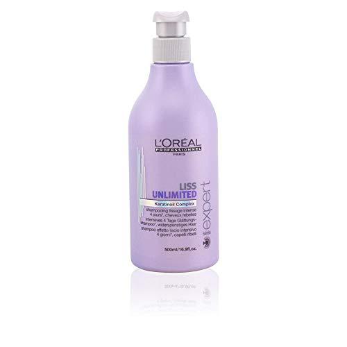 L'Oréal Professionnel Expert - Liss Unlimited Keratinoil Complex - Champú alisador intenso de 4 días para cabellos rebeldes - 500 ml